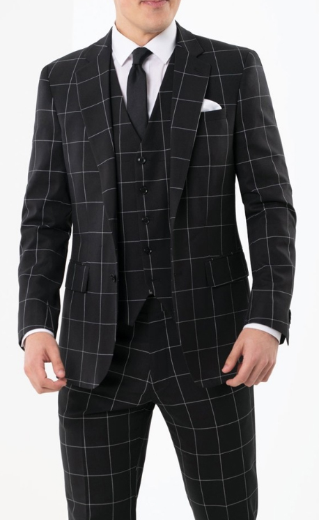 1920s Style Mens Fashion Black Plaid ~ Windowpane Suit Vested 3 Piece 1940s Style Gangster Checkered Suit
