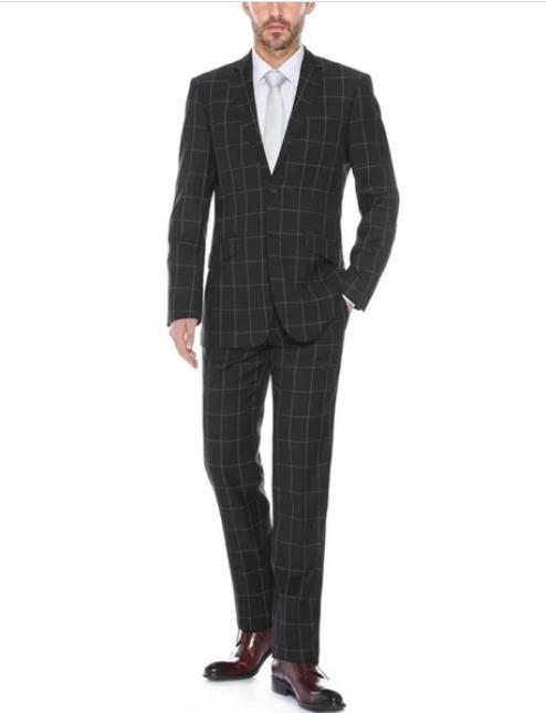 Men's Black Plaid Pattern Slim Fit Polyester Blend Checkered Suit