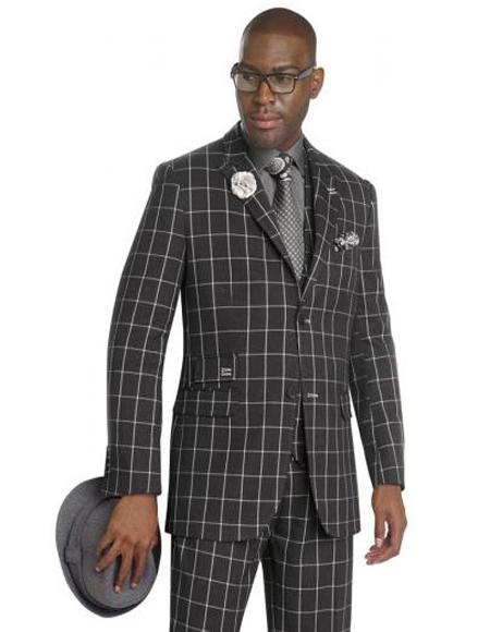 Mens Black/White Peak Lapel Fashion Vested Suit
