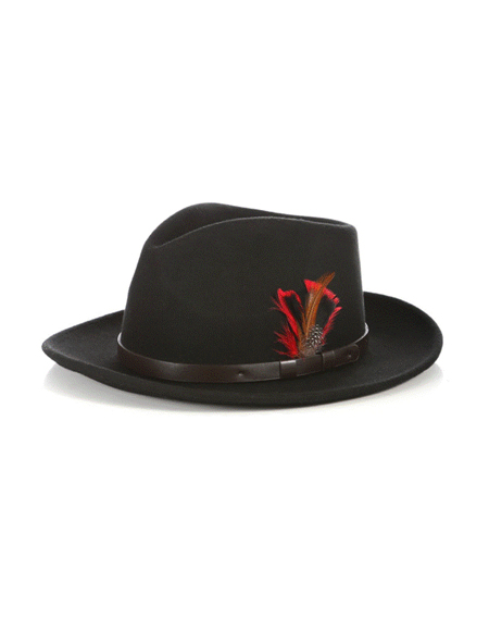 Crushable Fedora Mens Dress Hats in Black with Leather Band