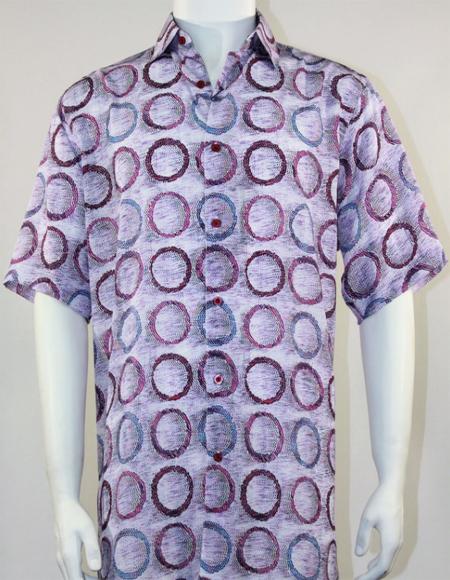 Mens Pink Tones Loose Flowing Fit Bassiri Short Sleeve Shirt