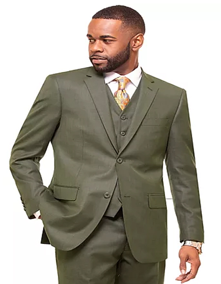 Mens Olive Single Breasted 2 Button Notch Lapel Suit