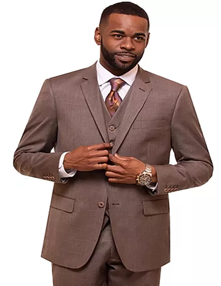 Mens Taupe Single Breasted 2 Button Notch Lapel Suit