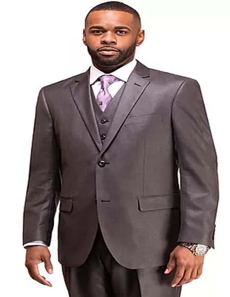 Mens Charcoal Single Breasted 2 Button Notch Lapel Suit