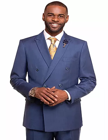 Mens Royal Double Breasted 2 Button Notch Lapel Suit