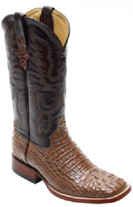 SKU#SL610 Mens caiman ~ alligator Crocodile ~ Alligator Head S-Toe Boots