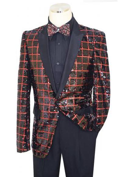 Pronti Black / Red Metallic Sequined Windowpane Design Satin Blazer B6363