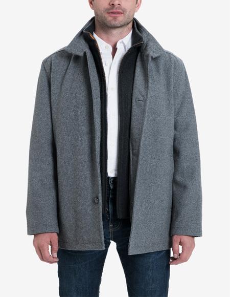 Big & Tall Wool Blend Stand-Collar Bib Car Coat Medium Gray