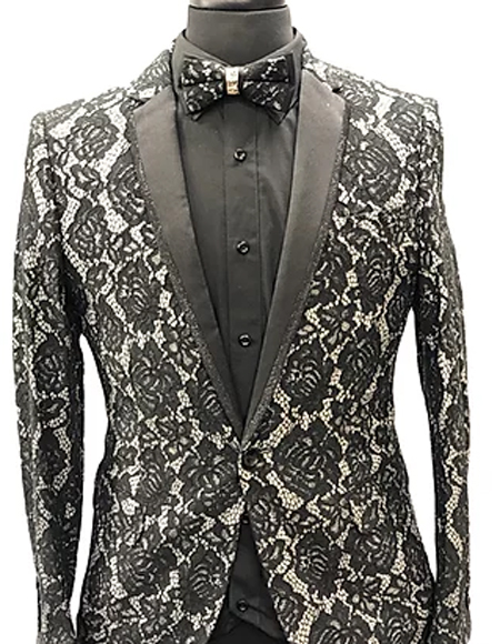 Paisley Fashion Fancy Floral Fashion Men's Blazer / Sport coat Slim Fit Tuxedo Looking Black