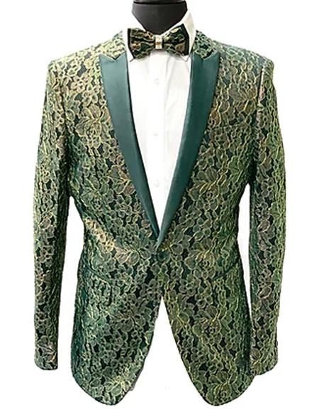 Paisley Fashion Fancy Floral Fashion Men's Blazer / Sport coat Slim Fit Tuxedo Looking Green