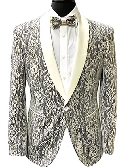Paisley Fashion Fancy Floral Fashion Men's Blazer / Sport coat Slim Fit Tuxedo Looking Grey