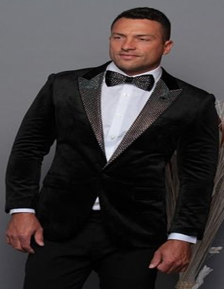 Black and Silver Lapel Velvet Men's blazer Perfect For Prom & Wedding With Matching Bowtie Tuxedo Jacket
