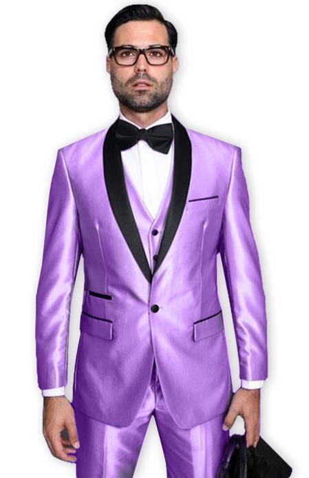 Lavender Tuxedo Shawl Collar Vested Jacket & Pants 3 Piece Suit Prom or Wedding or Shiny Metallic Fabric Groom Tuxedo