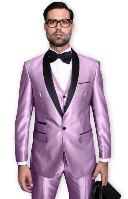 Lilca Tuxedo Shawl Collar Vested Jacket & Pants 3 Piece Suit Prom or Wedding or Shiny Metallic Fabric Groom Tuxedo