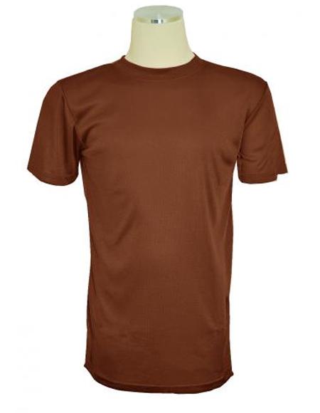 Mens Light Brown Short Sleeve Mock Neck T.Shirt