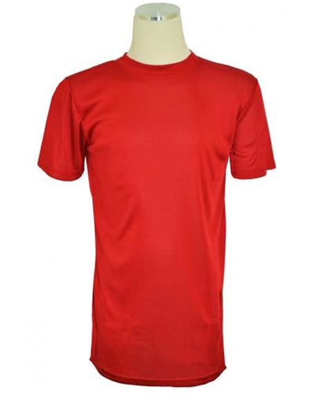 Red Short Sleeve Mock Neck T.Shirt for Men