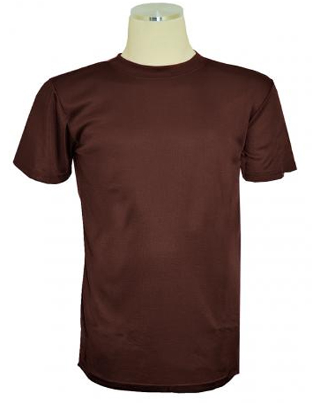 Chocolate Brown Tricot Dazzle Short Sleeve Mock Neck T.Shirt