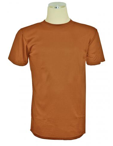 Mens Copper Brown Short Sleeve Mock Neck T.Shirt