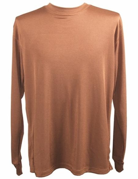 Brown Pronti Shiny Long Sleeve Mock Neck Shirt for Men