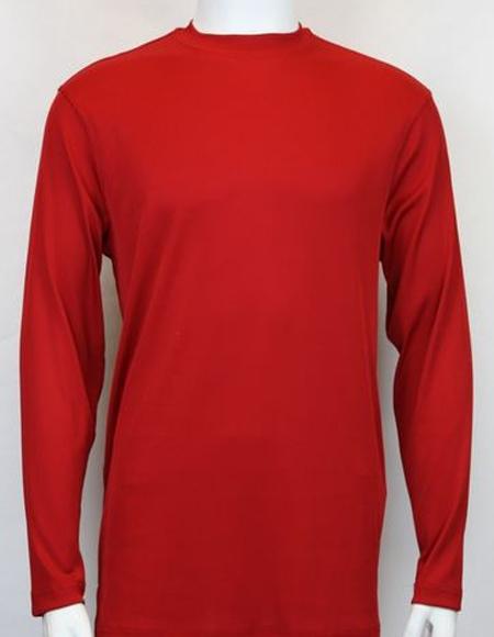 Men's Red Pronti Shiny Long Sleeve Mock Neck Shirt