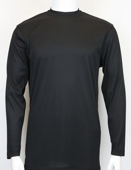 Mens Black Pronti Shiny Long Sleeve Mock Neck Shirt