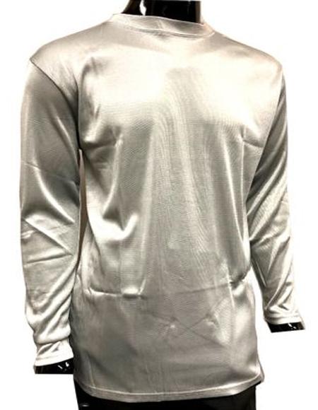 Men's Silver Pronti Shiny Long Sleeve Mock Neck Shirt