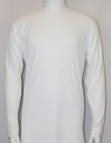 White Pronti Shiny Long Sleeve Mock Neck Shirt for Men