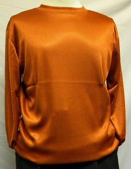Rust Pronti Shiny Long Sleeve Mock Neck Shirt for Men