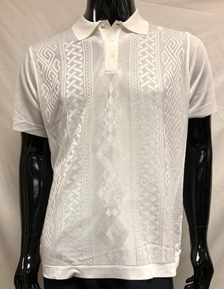 Men's White Shiny Knit Polo Shirts