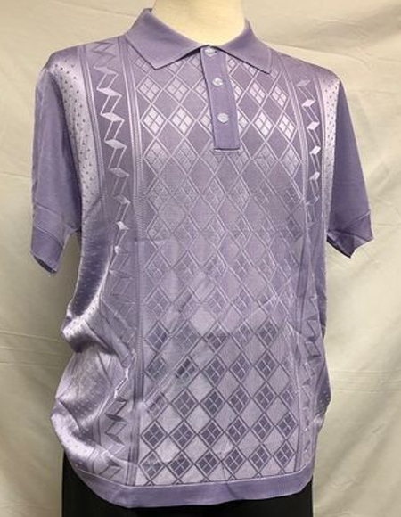 Lilac Italian Knit Shiny Polo Shirts for Men