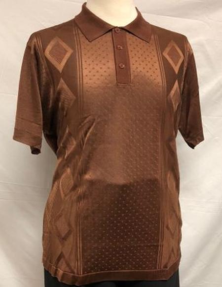 Mens Brown Shiny Polo Shirts