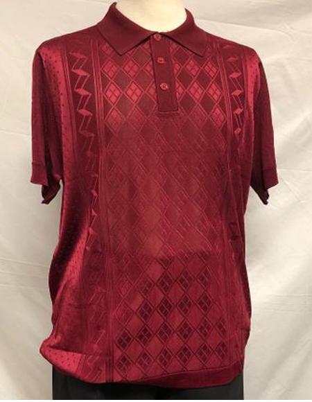 Burgundy Shiny Polo Shirts for Men