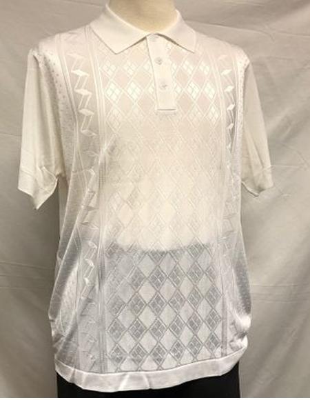 Mens Off-White Italian Knit Shiny Polo Shirts