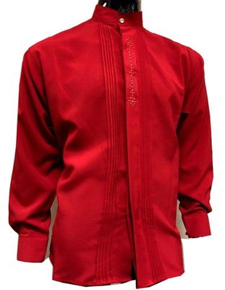 Men's Red Banded Mandarin Collarless Dress Shirt