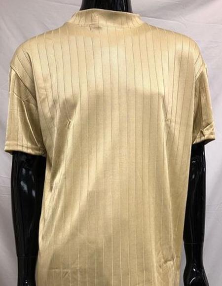 Mens Tan Silky Rayon Mock Neck Shirt