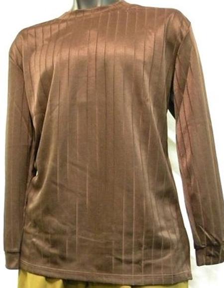 Mens Brown Rayon Knit Mock Neck Shirt