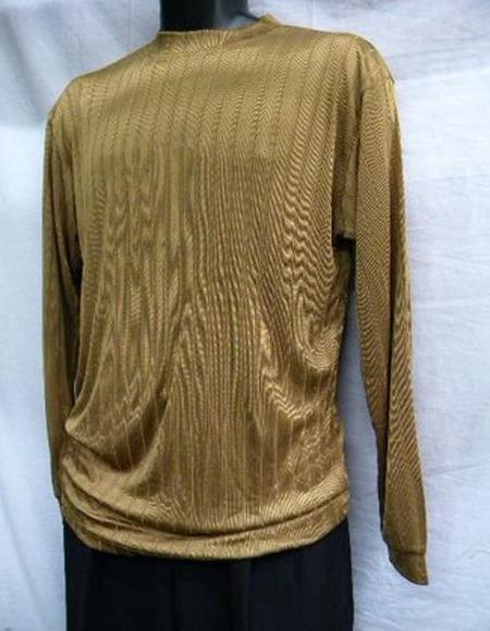 Mens Tobacco Stripe Short Sleeve Mock Neck Shirt