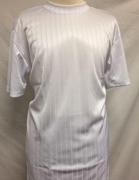 Mens White Silky Rayon Short Sleeve Mock Neck Shirt