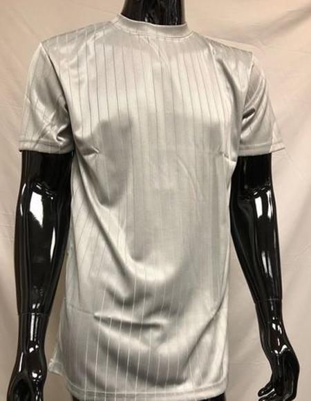 Men's Silver Silky Mock Neck Shirt