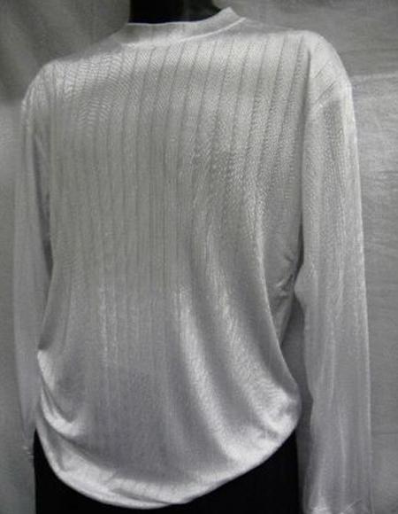 Mens White Stripe Short Sleeve Mock Neck Shirt