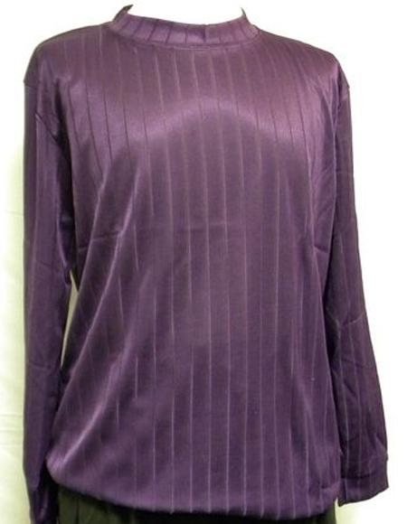 Mens Purple  Stripe Short Sleeve Mock Neck Shirt