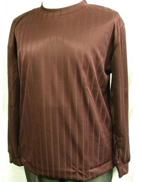 Mens Burgundy Stripe Poly Mock Neck Shirt