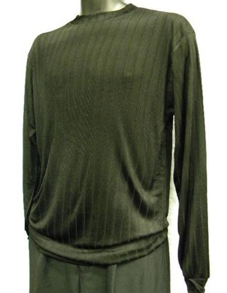 Men's Black Rayon/Poly Mock Neck Shirt