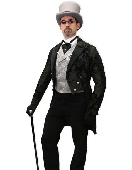 Velvet Suit Jacket and Pants  Tailcoat - Paisley Black Tail Tuxedo