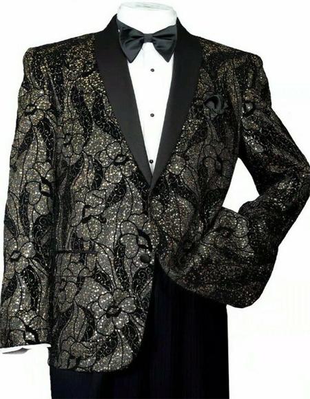 Men's Black/Gold Polyester Slim Fit Blazer