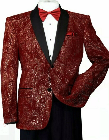 T816 Mens Shiny Sequins Slim Blazer Paisley Tuxedo Jacket Burgundy/Gold