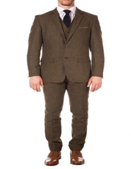 Men's Slim Fit Suit - Fitted Suit - Skinny Suit Cognac Modern Patterned Lining Peak Blinder Custom Vested Suit