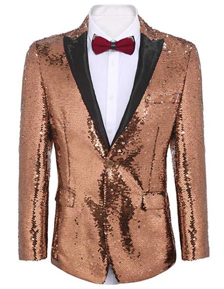 Rose Gold ~ Pinkish Gold Sequin Prom ~ Wedding Fashion Blazer and Tuxedo Jacket With Bowtie
