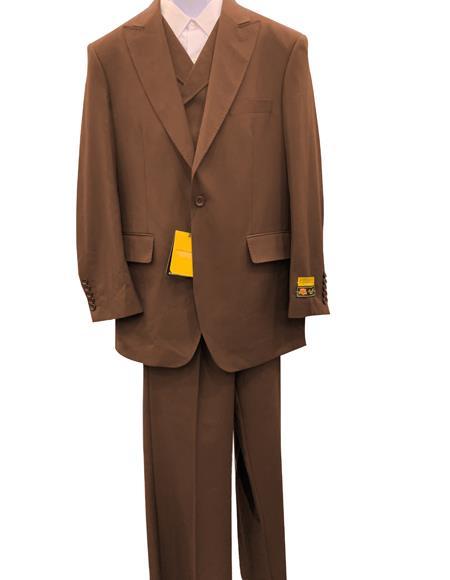 Brown One Button Peak Lapel Vintage Style Men's Fashion Urban Suit