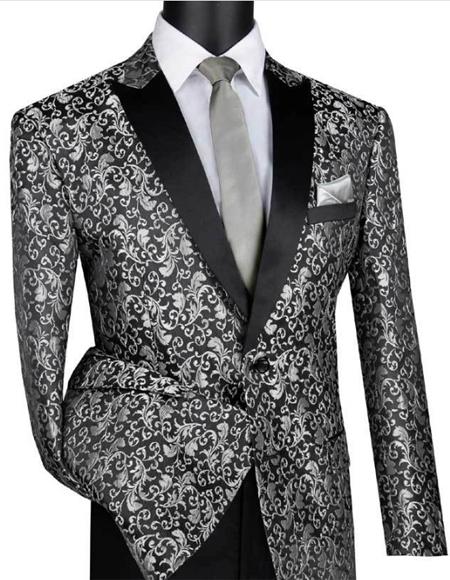 Silver & Black Polyester/Rayon One Button Blazer